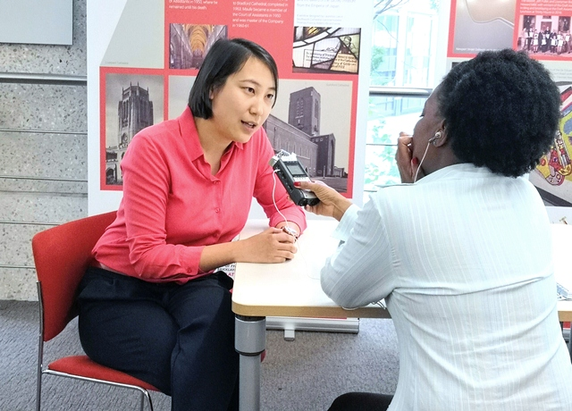 Kaitlin Zhang being interviewed by Patricia Vincent from Resonance 104.4 FM