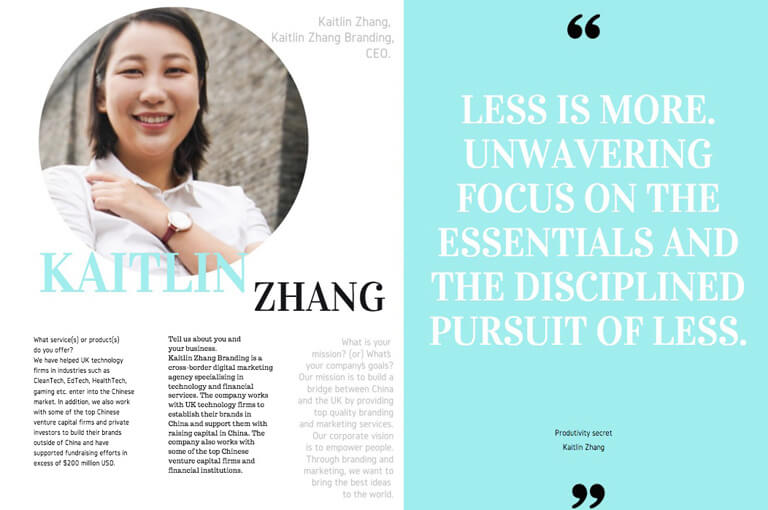 Kaitlin Zhang's Digital Business Women eMagazine Interview