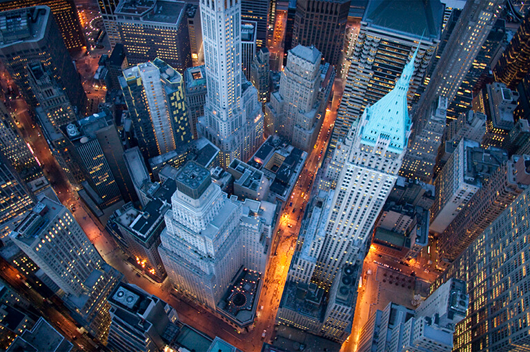 Aerial view of Manhattan, Newyork city at night