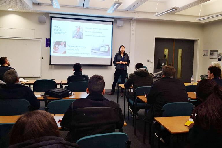branding expert Kaitlin Zhang speaking at the London South Bank University